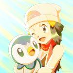 1girl :d artist_name beanie blue_eyes commentary_request eyelashes fingernails gen_4_pokemon hair_ornament hat highres hikari_(pokemon) holding holding_pokemon kuroki_shigewo long_hair looking_down one_eye_closed open_mouth piplup poke_ball_print pokemon pokemon_(anime) pokemon_(creature) pokemon_dppt_(anime) red_scarf scarf shiny shiny_hair smile starter_pokemon tongue upper_body watermark white_headwear