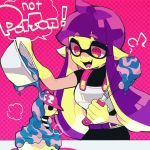 1girl bowl commentary_request cooking cosplay domino_mask english fangs inkling long_hair mask musical_note nana_(raiupika) purple_hair red_eyes splatoon takozonesu takozonesu_(cosplay) tentacle_hair whisk