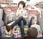 1girl assembling blue_eyes brown_hair commentary_request disembodied_head disembodied_limb disembodied_torso figure hand_on_own_chin legs_crossed model original short_hair sitting solo statue tagme translation_request yajirushi_(chanoma)