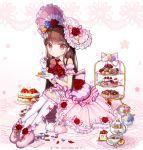 1girl boots bow bow_legwear brown_hair cake cookie cup cupcake dessert dress eating flower food frilled_dress frilled_gloves frilled_hat frilled_legwear frills gloves handkerchief hat highres ib ib_(ib) kneehighs long_hair macaron petals pink_boots plate rabbit red_eyes red_rose rose teacup teapot ttaji_(pass35) white_gloves white_legwear