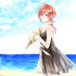 1girl alternate_costume beach black_dress datte_waka dress hat no.6 red_eyes redhead safu see-through_silhouette short_hair solo sun_hat sundress