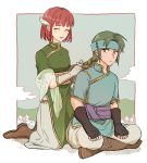 1boy 1girl ^_^ ^o^ black_gloves blush boots braid braiding_hair breasts closed_eyes dress fingerless_gloves fire_emblem fire_emblem:_rekka_no_ken full_body gloves green_eyes green_hair guy_(fire_emblem) hairdressing hand_in_another's_hair headband indian_style kneeling long_hair looking_at_another looking_back noshima open_mouth pants ponytail priscilla_(fire_emblem) redhead sash shirt short_hair sitting smile white_gloves wing_hair_ornament