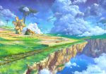 artist_name bench clouds colorful commentary fantasy fence field floating_island flower grass house kaitan lamppost landscape no_humans original plant railroad_tracks ruins scenery sky train_station vines windmill
