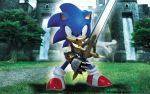 1boy 3d background gauntlets grass hedgehog highres looking_at_viewer sonic sonic_and_the_black_knight sonic_the_hedgehog sword tree wallpaper water waterfall weapon
