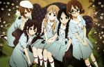 5girls absurdres akiyama_mio alternate_costume alternate_hairstyle black_eyes black_hair blonde_hair blue_eyes brown_eyes brown_hair glasses highres hirasawa_yui k-on! kotobuki_tsumugi long_hair looking_at_viewer multiple_girls nakano_azusa official_art scan short_hair tainaka_ritsu yamada_naoko
