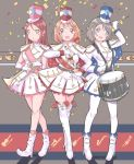 3girls :o bangs blue_eyes blush boots bow braid cape confetti drum drumsticks full_body gloves grey_hair hair_bow hair_ornament hat head_tilt high_heel_boots high_heels highres holding_instrument instrument long_hair long_sleeves looking_at_viewer love_live! love_live!_sunshine!! marching_band marching_band_baton multiple_girls orange_hair qianqian red_bow red_eyes redhead sakurauchi_riko sash shako_cap short_hair side_braid skirt standing star star_hair_ornament star_print takami_chika thigh-highs thigh_boots trumpet watanabe_you white_gloves white_legwear yellow_eyes