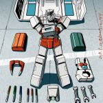 1boy 80s autobot dated double_sided_wrench kamizono_(spookyhouse) looking_at_viewer machine machinery male mecha no_humans oldschool ratchet robot screwdriver smile solo toolbox tools transformers twitter_username weapon wrench