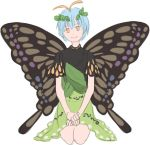 1girl antennae blue_hair butterfly_wings dress etarnity_larva eyebrows_visible_through_hair green_dress hair_between_eyes hair_ornament hand_on_hand kneeling leaf_hair_ornament mefomefo short_hair short_sleeves simple_background smile solo touhou white_background wings yellow_eyes