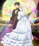1boy 1girl blonde_hair blue_hair book bouquet bow bowtie bridal_veil candle dress erina_pendleton flower frilled_dress frills gloves highres holding holding_book husband_and_wife jojo_no_kimyou_na_bouken jonathan_joestar light profile screencap stained_glass tuxedo veil vest wedding_dress white_dress white_gloves
