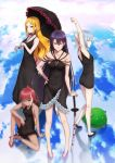 4girls arms_up bare_shoulders black_dress black_hair blonde_hair blue_eyes brown_eyes brown_hair clouds dress green_eyes highres long_hair looking_at_viewer multicolored_hair multiple_girls original parasol pointy_ears puma_(hyuma1219) short_hair silver_hair sitting standing two-tone_hair umbrella