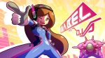 1boy 1girl ;d bodysuit braces breasts brown_eyes brown_hair character_name commentary cosplay d.va_(overwatch) d.va_(overwatch)_(cosplay) dipper_pines emphasis_lines finger_gun gloves gravity_falls hand_on_hip headphones long_hair mabel_pines mecha meka_(overwatch) meka_(overwatch)_(cosplay) mike_inel one_eye_closed open_mouth overwatch pilot_suit small_breasts smile solo_focus whisker_markings white_gloves
