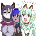 3girls animal_ears aqua_hair assassin_(fate/prototype_fragments) bangs bare_shoulders black_gloves blush bodysuit breasts choker collar commentary_request dark_skin dog_ears fate/grand_order fate/prototype fate/prototype:_fragments_of_blue_and_silver fate_(series) gloves hair_ornament hairband heart heart-shaped_pupils horns huge_breasts japanese_clothes kimono kiyohime_(fate/grand_order) large_breasts long_hair looking_at_viewer minamoto_no_raikou_(fate/grand_order) multiple_girls open_mouth purple_hair short_hair smile symbol-shaped_pupils tsukihaikimaru_(ikimaru) very_long_hair violet_eyes yellow_eyes