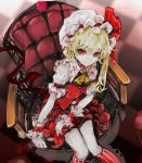 1girl absurdres ascot bangs blonde_hair blurry checkered checkered_floor choker closed_mouth crystal depth_of_field flandre_scarlet frilled_shirt_collar frills from_above hat hat_ribbon highres kneehighs looking_at_viewer looking_up mob_cap pale_skin pointy_ears puffy_short_sleeves puffy_sleeves red_eyes red_ribbon red_skirt red_vest ribbon short_sleeves side_ponytail sitting skirt skirt_set smile solo striped striped_legwear touhou vest wings wrist_cuffs yutapon