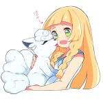 1girl alola_form alolan_vulpix blonde_hair braid face_licking hetchhog_tw licking lillie_(pokemon) long_hair open_mouth pokemon pokemon_(anime) pokemon_(creature) pokemon_sm_(anime) simple_background sleeveless twin_braids white_background