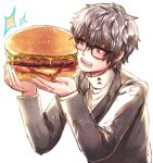 1boy black_hair brown_eyes commentary eating food glasses hamburger kataro kurusu_akira persona persona_5 school_uniform short_hair