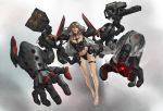 1girl bangs bare_legs barefoot between_breasts black_choker black_panties blonde_hair breasts choker collarbone extra_arms full_body gun highres jacket kouchong_wen lips lipstick long_hair long_sleeves looking_at_viewer machine_gun machinery makeup medium_breasts missile_pod mole mole_under_eye multiple_arms navel nose open_clothes open_jacket open_mouth original outstretched_arms panties red_lips red_lipstick smile solo stomach teeth thigh_strap toenails toes turret underwear weapon
