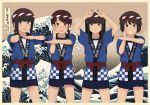 4girls alternate_costume arms_up bangs beige_border black_hair blue_skirt blunt_bangs blush border breaking_wave brown_eyes brown_hair checkered fine_art_parody foreshortening fubuki_(kantai_collection) fuyube_gin_(huyube) green_eyes grin hachimaki happi hatsuyuki_(kantai_collection) headband hime_cut japanese_clothes jitome kanagawa_okinami_ura kantai_collection lineup long_hair low_ponytail miniskirt miyuki_(kantai_collection) multiple_girls nejiri_hachimaki open_mouth outstretched_arm parody pleated_skirt ponytail pose sash shirayuki_(kantai_collection) short_hair short_ponytail sidelocks skirt smile standing waves