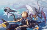 2017 2girls artist_signature blonde_hair clouds dated firing flying from_behind gauntlets gun highres jet_engine monster multiple_girls ocean original ponytail redhead rifle river shorts shou_mai spaulders tower twintails water weapon wings