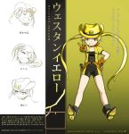 1girl absurdres blonde_hair bodysuit brown_gloves character_name gloves gun hat highres magical_girl mahou_shoujo_western_girls original seibu_kiyo sharpffffff shoes short_hair_with_long_locks short_sleeves smile translation_request v weapon yellow_eyes yellow_hat