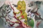 2017 copyright_name leaf no_humans pokemon pokemon_(creature) solo tagme tokiya tree_branch treecko watermark