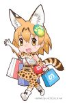 1girl animal_ears animal_print ankle_boots arm_at_side arm_up bag bare_shoulders belt black_ribbon blush boots bow bowtie breast_pocket brown_belt buttons chibi copyright copyright_name cross-laced_clothes dot_nose elbow_gloves extra_ears eyebrows_visible_through_hair full_body gloves hair_ornament highres holding japari_symbol kemono_friends light_brown_eyes looking_at_viewer open_hand orange_hair pocket print_bow print_bowtie print_gloves print_legwear print_skirt ribbon romaji serval_(kemono_friends) serval_ears serval_print serval_tail shirt shoe_ribbon shoe_soles shopping_bag short_hair shoulder_bag simple_background skirt sleeveless sleeveless_shirt solo striped_tail tail tareme thigh-highs walking waving white_background white_boots white_footwear white_shirt yoshizaki_mine zettai_ryouiki
