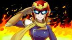 1girl breasts captain_falcon captain_falcon_(cosplay) commentary cosplay f-zero fire gloves helmet kousaka_honoka lipstick love_live! love_live!_school_idol_project makeup minami_kotori_(bird) salute scarf smile solo super_smash_bros. triple-q
