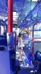 1girl ad black_eyes bus ground_vehicle hat highres lalil-le mirror motor_vehicle original reflection seat see-through short_hair shorts straw_hat tropical_fish umbrella