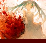 1girl blue_hair bouquet closed_eyes commentary crying dress eyebrows_visible_through_hair floating_hair flower gradient gradient_background grey_dress happy hatsune_miku highres letterboxed long_hair outstretched_arm petals pink_background puffy_short_sleeves puffy_sleeves red_flower red_rose rose short_sleeves simple_background smile solo_focus tears teeth twintails vocaloid white_background