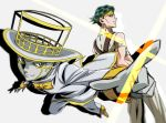 1boy earrings green_eyes green_hair headband heaven's_door jewelry jojo_no_kimyou_na_bouken kishibe_rohan male_focus official_style perspective smile stand_(jojo) toned toned_male yoko.u