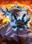 1boy alchemy alphonse_elric apron armor deviantart_sample energy fighting_stance full_armor fullmetal_alchemist gloves highres image_sample red_eyes solo