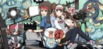 1boy 1girl ^_^ back-to-back bird blue_eyes brown_hair camera closed_eyes double_bun duck ducklett holding holding_poke_ball kyouhei_(pokemon) long_hair lowres megaphone mei_(pokemon) movie_camera oshawott pantyhose poke_ball pokemon pokemon_(creature) pokemon_(game) pokemon_bw2 raglan_sleeves sample short_hair shorts smile stage_lights twintails visor_cap wm_(chawoo1357)