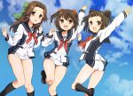 3girls :d alternate_costume antenna_hair arm_up ass bangs black_legwear blue_sky bow bowtie brown_eyes brown_hair brown_shoes clouds collarbone cosplay day double_bun eyebrows_visible_through_hair foreshortening green_bow hair_bow hair_ornament hair_scrunchie jintsuu_(kantai_collection) jumping kantai_collection kneehighs loafers long_hair long_sleeves looking_back multiple_girls naka_(kantai_collection) open_mouth outdoors plum_(arch) pocket red_bow red_bowtie round_teeth sailor_collar sakura_ayane scrunchie seiyuu_connection sendai_(kantai_collection) shirt shoes short_hair short_shorts shorts sidelocks sky smile sparkling_eyes tareme teeth thigh_gap thighs twisted_torso two_side_up vividred_operation white_shirt white_shorts