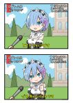1girl 2koma bangs blue_eyes blue_hair blush breasts chibi comic detached_sleeves hair_ornament hair_over_one_eye hair_ribbon highres looking_at_viewer maid maid_headdress microphone open_mouth pink_ribbon ragho_no_erika re:zero_kara_hajimeru_isekai_seikatsu rem_(re:zero) ribbon short_hair smile thumbs_up translation_request x_hair_ornament