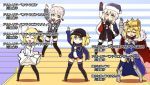 5girls ahoge arito_arayuru arm_up armor armored_dress artoria_pendragon_lancer_(fate/grand_order) black_bow black_jacket black_legwear black_shorts blonde_hair bloomers blue_eyes blue_jacket blush boots bow braid breasts cape cleavage commentary_request crown eyebrows_visible_through_hair fate/grand_order fate/unlimited_codes fate_(series) fur_trim gauntlets glasses gloves hair_between_eyes hair_bow hat heroine_x heroine_x_(alter) holding holding_microphone jacket kneehighs ladder large_breasts leg_garter long_hair long_sleeves looking_at_viewer microphone multiple_girls peaked_cap plaid plaid_scarf ponytail ribbon rojiura_satsuki_:_chapter_heroine_sanctuary saber saber_alter saber_lily sack santa_alter santa_costume santa_hat scarf semi-rimless_glasses shorts skirt smile striped striped_background striped_ribbon sweatdrop thigh-highs thigh_boots track_jacket translated underwear unzipped white_gloves white_hair yellow_eyes