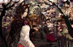 1girl animal_ears brooch brown_hair cape commentary_request dress imaizumi_kagerou jewelry landscape long_hair long_sleeves looking_at_viewer nature onion_(onion_and_pi-natto) profile red_eyes solo touhou tree wolf_ears