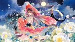 1girl braid brown_hair calligraphy_brush_(medium) dress flower jewelry long_hair long_sleeves looking_at_viewer moon night night_sky outdoors petals red_eyes rei_(456789io) scenery sky solo traditional_media tree vocaloid watercolor_(medium) wide_sleeves yuezheng_ling