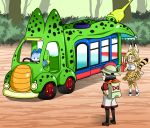 android_17 android_18 animal_ears backpack bag bandanna black_hair blonde_hair blue_eyes cell_(dragon_ball) cell_junior cosplay dragon_ball dragon_ball_z dragonball_z earrings hat highres japari_bus jewelry kaban_(kemono_friends) kaban_(kemono_friends)_(cosplay) kemono_friends lucky_beast_(kemono_friends) orange_bandana pantyhose red_ribbon_army serval_(kemono_friends) serval_(kemono_friends)_(cosplay) serval_ears serval_print serval_tail shinomiya_akino smile tail thigh-highs