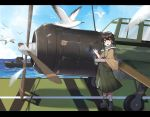 1girl absurdres aircraft airplane b6n_tenzan binoculars bird boots brown_eyes brown_hair clouds day flight_deck full_body gloves hakama headphones highres holding japanese_clothes kantai_collection kasuga_maru_(kantai_collection) military military_vehicle ocean partly_fingerless_gloves scarf ship short_hair sky solo taiyou_(kantai_collection) warship watercraft wulazula yugake