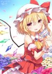 2girls blonde_hair blush clown_222 crystal fang flandre_scarlet flower hand_holding hand_on_another's_face hat long_hair multiple_girls open_mouth outdoors red_eyes remilia_scarlet shirt siblings side_ponytail sisters skirt sleeveless sleeveless_shirt smile solo_focus touhou wind wind_lift wings