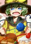 1girl artist_request commentary_request dessert food fork hamburger heart heart-shaped_pupils highres holding holding_spoon komeiji_koishi long_sleeves pancake solo spoon symbol-shaped_pupils third_eye touhou