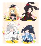 4boys :3 ^_^ animal_ears black_hair blonde_hair blue_eyes blush_stickers bow brown_hair chibi closed_eyes dress easter easter_egg hair_bow haori hat hood japanese_clothes kashuu_kiyomitsu kemonomimi_mode male_focus midare_toushirou mole mole_under_eye mole_under_mouth multiple_boys necktie open_mouth ponytail rabbit rabbit_ears red_eyes scarf shinsengumi sitting smile touken_ranbu trap tsurumaru_kuninaga uguisu_mochi_(ykss35) white_hair yamato-no-kami_yasusada