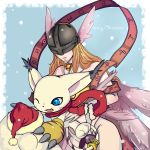 1girl absurdres angel_wings angewomon artist_request asymmetrical_clothes bare_shoulders blonde_hair blue_eyes cat choker claws creature digimon digimon_adventure gloves hat head_wings helmet highres jewelry long_hair multiple_wings no_humans print_gloves red_scarf ribbon ring santa_hat scarf smile snow tailmon thigh_strap wings yellow_gloves