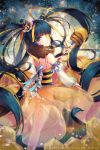 1girl bee_girl bee_hair_ornament black_hair blonde_hair blue_eyes blush detached_sleeves eyepatch highres holding holding_staff honey honeycomb_(pattern) insect_girl long_hair long_sleeves multicolored_hair original smile snow_is snow_is_ solo staff twintails