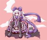 1girl 3.1-tan :3 between_legs black_cat black_legwear boots bow cat dos_cat dress hair_bow hand_between_legs knees_up long_hair looking_at_viewer os-tan pantyhose pink_background purple_bow red_eyes scarf shared_scarf shio_poteto sitting solo very_long_hair white_hair