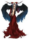 arm_up black_wings breasts claws cleavage dissidia_final_fantasy dress final_fantasy final_fantasy_viii ftd grey_hair horns long_hair navel no_bra red_dress silver_hair solo tattoo ultimecia wings