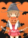 bat bats brown_eyes brown_hair halloween hat hidamari_sketch pumpkin pumpkins short_hair witch_hat yuko_(nyakkikki) yuko_(pixiv495246) yuno