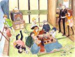adachi_tohru amagi_yukiko bad_perspective doujima_nanako doujima_ryotaro doujima_ryoutarou hanamura_yousuke jyako_(bara-myu) kujikawa_rise kuma_(persona_4) narukami_yuu new_year persona persona_4 satonaka_chie seta_souji shirogane_naoto some_(pixiv179616) tatsumi_kanji