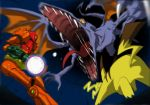 metroid nintendo pikachu pokemon ridley samus_aran super_smash_bros. tail varia_suit wings yellow_eyes