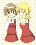 brown_eyes brown_hair hidamari_sketch isacoo miyako school_uniform short_hair v yellow_eyes yuno