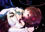 1girl bare_shoulders brown_eyes brown_hair covering_mouth dress flower frilled_dress frills hair_flower hair_ornament heart heart_of_string lights looking_at_viewer marble meiko ribbon solo totono vocaloid